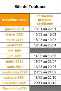 calendrier de formation 2021 Toulouse