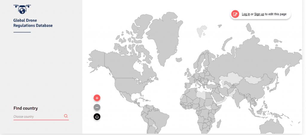 carte du monde sur la réglementation de drone