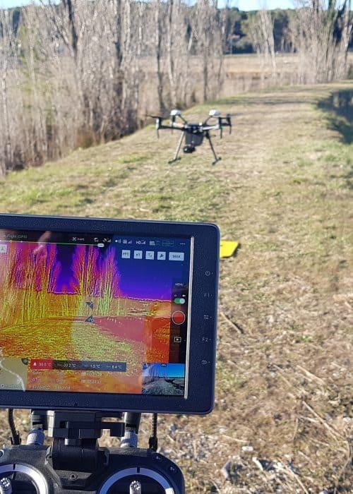 retour d'écran du drone en formation thermographie