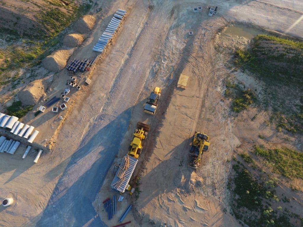 prise de vue d'un chantier par drone